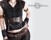 Steampunk Harness BROWN Faux Leather Underbust Bodice with Silver Gears, Buckles, Chain, and Antique Keys by Velvet Mechanism