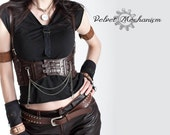 Steampunk Harness BROWN Faux Leather Underbust Bodice with Silver Gears, Buckles, Chain, and Antique Keys by Velvet Mechanism - velvetmechanism