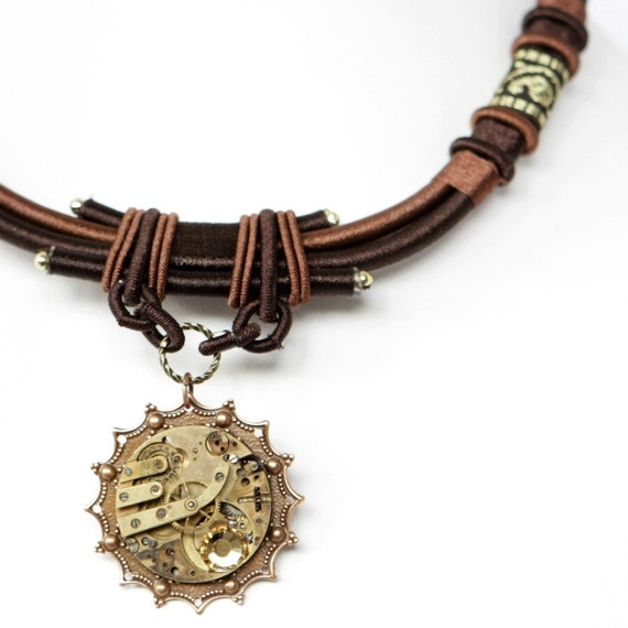 Steampunk Elaborate Brown Cord Copper Filigree and Watch Necklace with Topaz Swarovski Crystal by Velvet Mechanism