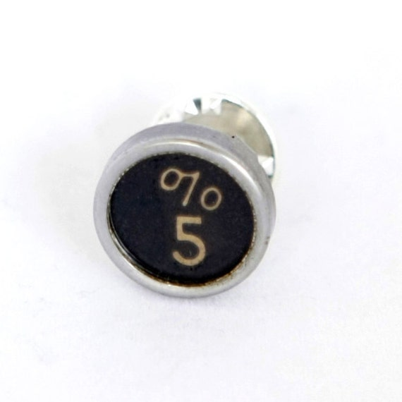 Steampunk Vintage Typewriter Key Tie Tack or Ascot Pin with the Percent Symbol and Number Five by Velvet Mechanism