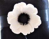 Couture Clay - Made to Order Satin Ring Pillow with Clay Anemone Flower