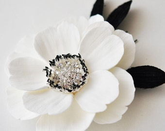 Couture Clay - Made to Order Ivory Anemone Hair Flower with Rhinestone Center and Black Velvet Leaves