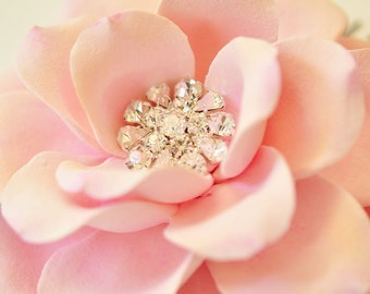 COUTURE CLAY - Made to Order Light Pink Open Rose with Rhinestone Center Hair Flower