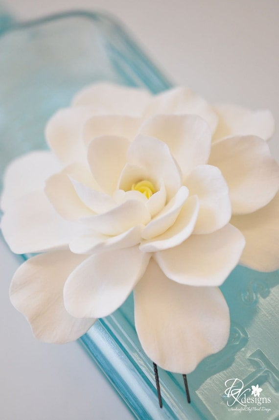 COUTURE CLAY - Made-to-Order Open Ivory Gardenia Hair Flower