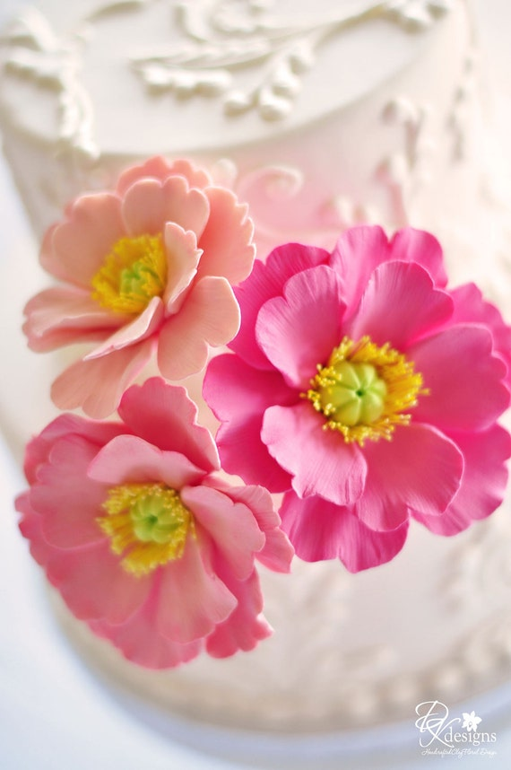 COUTURE CLAY - Ready to Ship Salmon Pink Poppy Cake Flower Trio