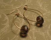 Smoky Quartz Oval Hoops - 14 karat Gold - Semi Precious Gems
