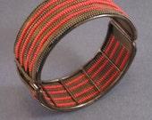 Orange You Sweet - Vintage 1970s Hinged Bangle Bracelet Orange Beads on Wire