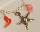 Ocean Charm Necklace - Starfish Charm with Coral in Sterling Silver - The South Sea Island Necklace
