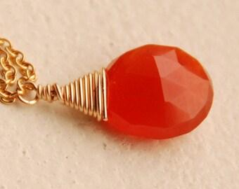 Carnelian Necklace, Gemstone Necklace, Semi Precious, Single Briolette Carnelian Gemstone in 14K Gold Filled, The Tiny Hot Ember Necklace