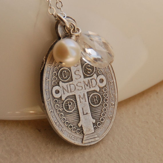 Benedictine Medal, Crystal Quartz, and Freshwater Pearl in Sterling Silver - The Benedictine Faith Necklace