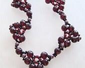 Garnet Red Gemstones Sculpted Heart Necklace