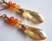 Cubic Zirconia Fire Carnelian 14k Gold Filled WRAPPED Peach Drop Earrings