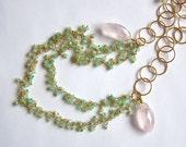 Australian Chrysoprase Rose Quartz Gold Necklace Marquise Vermeil Chain, pastel green pink, boho rustic delicate romantic, pink owl jewelry