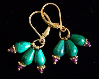 Malachite earrings Rhodolite Garnet Gold Vermeil 925 silver natural green pink organic gemstone boho chic cluster earrings Pink Owl jewelry