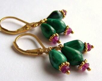 Malachite earrings Rhodolite Garnet Gold Vermeil 925 silver natural green pink organic gemstone boho chic cluster earrings Pink Owl jewelry