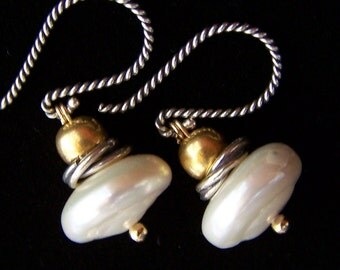 White Freshwater Pearl Earrings Gold Vermeil antiqued Sterling Silver, boho bohemian rustic byzantine style, pearl jewelry, PinkOwlJewelry