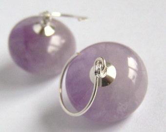 Lilac Amethyst Lantern Earrings Sterling Silver, natural purple stone birthstone Minimalist Simple, Organic handmade Boho PinkOwlJewelry