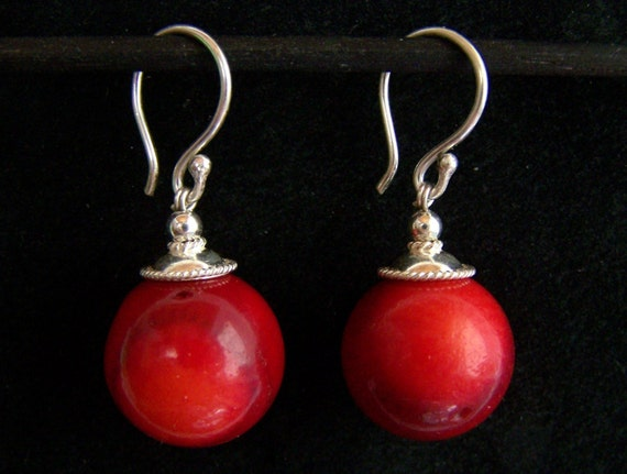 Huge Bamboo Coral 925 Sterling Silver Red Ball Earrings