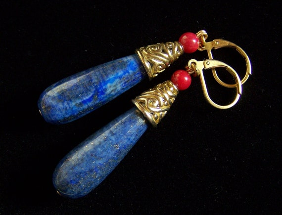 Huge Drop LAPIS LAZULI Red CORAL Genuine Bali Brass Cones Earrings with Leverbacks