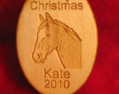 Personalized wooden christmas ornament tag horse back riding