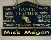 Personalized Wooden Dance Jazz Teacher Wall Hanging  - Great Gifts for Dance Teachers - Etsy Finds