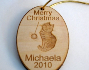 Personalized wooden cat 2016 christmas ornament or tag