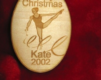 Personalized wooden christmas gymnast ornament tag