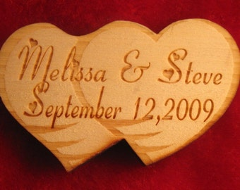 Save the date or wedding gift personalized double heart  wooden magnets set of 25