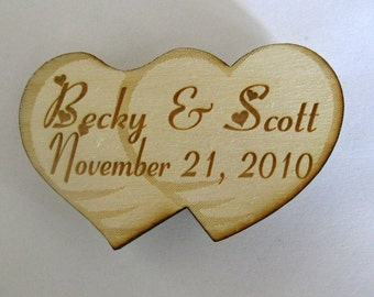 Personalized double heart  wooden Engraved Magnet