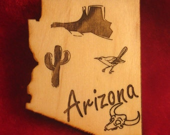 Arizona State Wooden Magnet