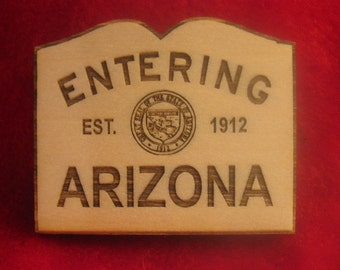 Arizona State Welcome Wooden Magnet