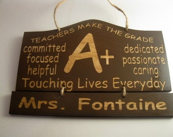 Personalized Wooden Teacher  Wall Hanging