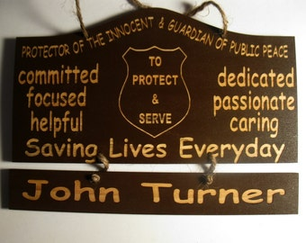 Personalized Wooden Police Officer Wooden Wall Hanging