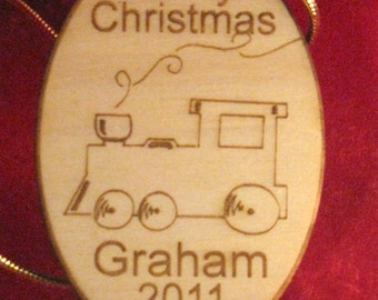 Personalized wooden christmas train ornament or gift tag