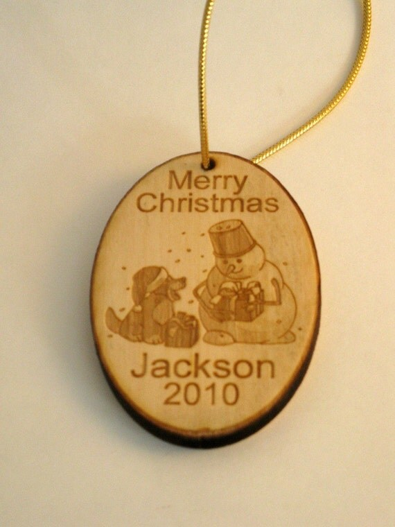 Personalized wooden snowman 2015 christmas ornament or tag