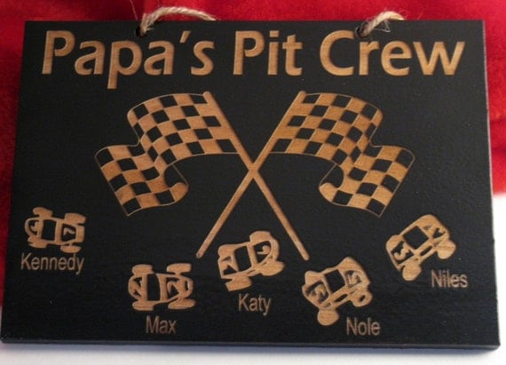 Grandpa's Pit Crew 9in x 12in Personalized Wooden Sign (Dad, Papa, Uncle, or other)