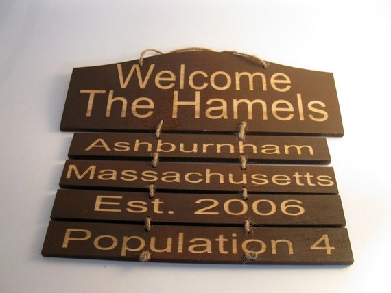 Welcome family wooden personalized sign large