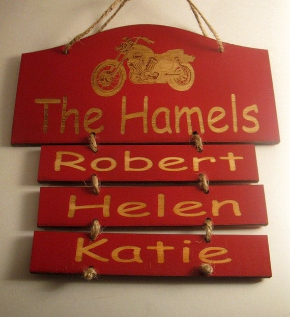 Personalized Motorcycle Wooden Family Wall Hanging Small
