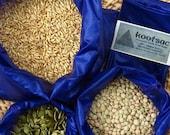 Reusable food pouch, reusable food bags, bulk food bag, produce bags, bulk bins, purple, ripstop nylon food bags