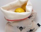 Reusable produce bag, reusable vegetable bag, fruit bag, natural cotton food bag, bulk bins, grain sack, farmers market, screenprinted bee
