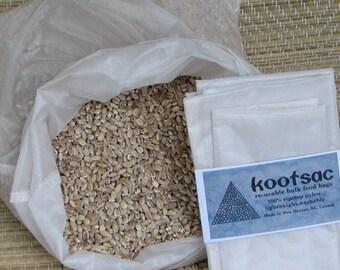 Reusable bulk food bag, reusable produce bags, bulk bin bag, reusable sacks, grain bag, ripstop nylon bag, white