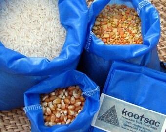 Reusable bulk food bags, reusable dry food bags, food pouch, snack sacks, 3 ripstop nylon bags, blue