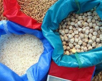 Reusable bulk food bag, reusable produce bags, large size bag, veggie bag, ripstop nylon, set of three, red, blue, turquoise