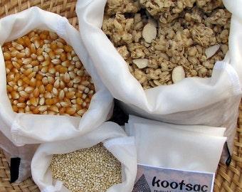 Reusable bulk food bags, natural silk bags, eco bags, bulk bin bags, food pouch, biodegradable bags, set of 3 bags, small, medium, large