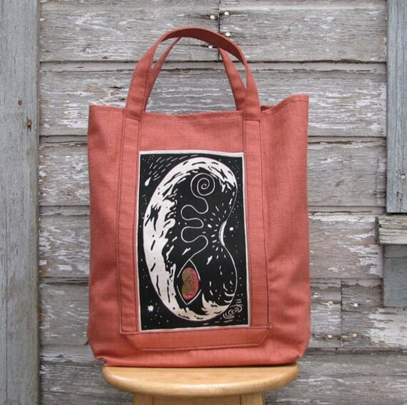 Reusable shopping tote - Earth Bean - screenprinted and painted