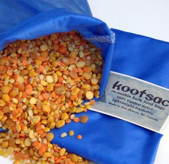Reusable bulk bin bag, reusable produce bag, food pouch, travel food bag, snack bag, ripstop nylon bag, natural food bag, medium size, blue