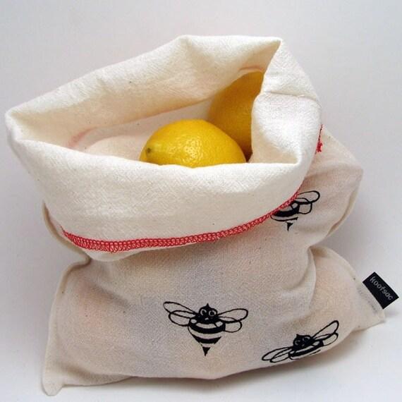 Reusable produce bag, cotton food bag, natural bag, cloth vegetable bag, market bag, screenprinted bee bag