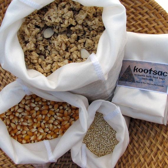 Reusable bulk food bags, natural silk, eco bags, biodegradable food bags, reusable food pouch, 3 food bags, small, medium, large, white