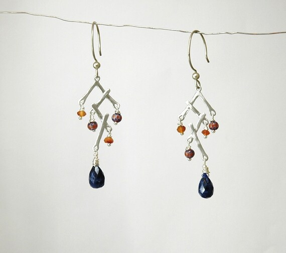 Sale-Was 22.00 and Now 15.00-Sterling Silver Earrings with Carnelian Lapis Gemstone and Vintage African Pattern Beads