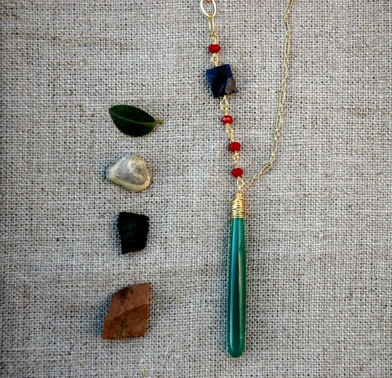 Long Asymmetrical Green Onyx Drop Cut Pendant and Blue Lapis and Red Crystals 14k Gold Filled Chain Necklace